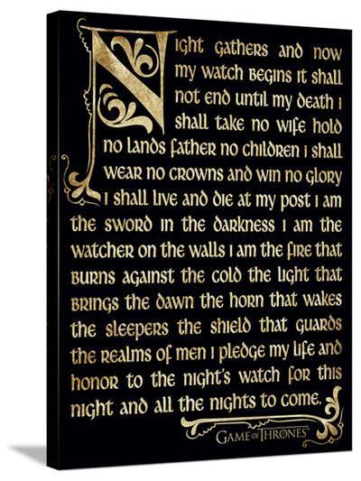 Game Of Thrones (Season 3 - Nightwatch Oath)--Stretched Canvas Print