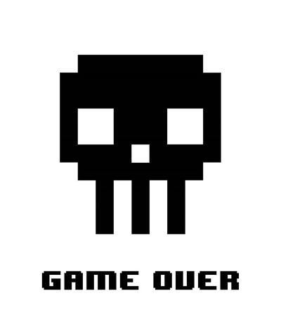 Game Over - Black Skull-Color Me Happy-Art Print
