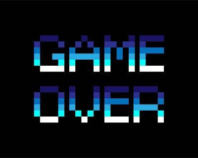 Game Over - Blue-Color Me Happy-Art Print