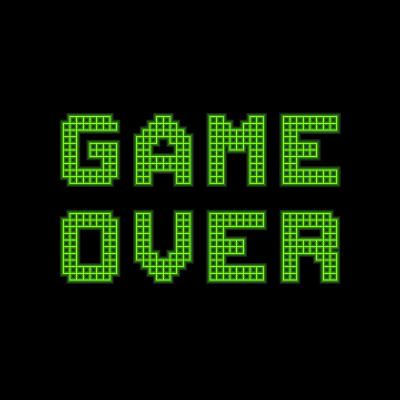 Game Over On A Green Grid Digital Display-wongstock-Art Print