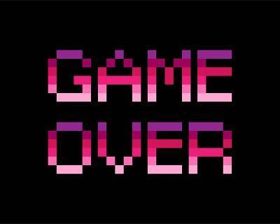 Game Over - Purple-Color Me Happy-Art Print