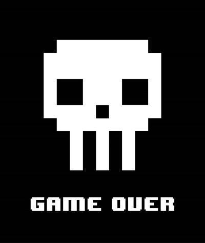 Game Over - White Skull-Color Me Happy-Art Print