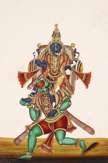 Ganesha Defeating an Evil Demon, from Thanjavur, India--Giclee Print