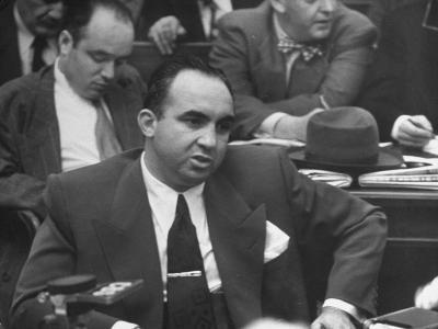 Gangster Mickey Cohen Testifying at Kefauver Hearings During Crime Probe-Peter Stackpole-Photographic Print