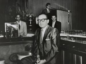 Gangster Santo Trafficante Sitting on a Stool in His Sans Souci Night Club in Havana, Cuba