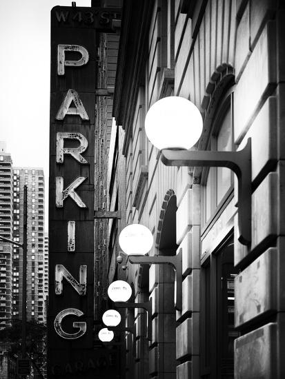 Garage Parking Sign, W 43St, Times Square, Manhattan, New York, US, Black and White Photography-Philippe Hugonnard-Photographic Print