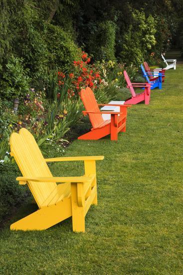 Garden Bench, Schreiner's Iris Gardens, Keizer, Oregon, USA-Rick A^ Brown-Photographic Print