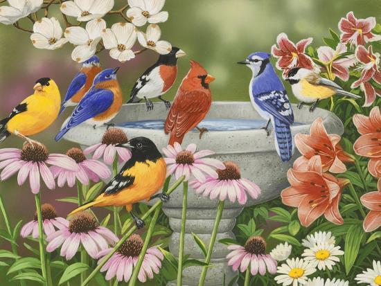 Garden Birdbath-William Vanderdasson-Premium Giclee Print