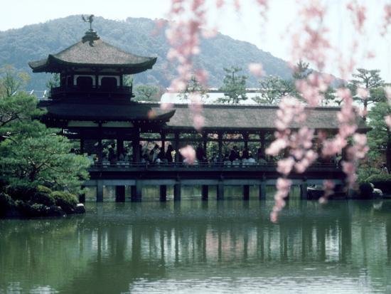 Garden Bridge of Heian-Jingu Shrine in Spring, Kyoto, Japan--Photographic Print