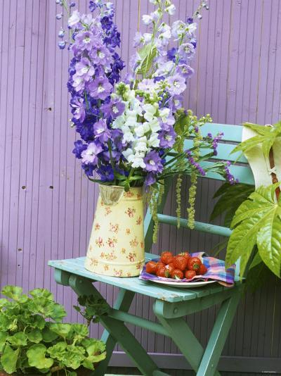 Garden Chair with Delphiniums and Plate of Strawberries-Linda Burgess-Photographic Print