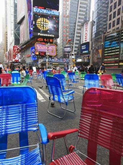 Garden Chairs in the Road for the Public to Sit in the Pedestrian Zone of Times Square, Manhattan-Amanda Hall-Photographic Print