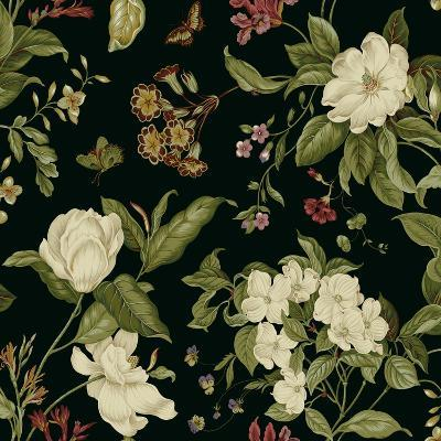 Garden Floral on Black I-Unknown-Art Print