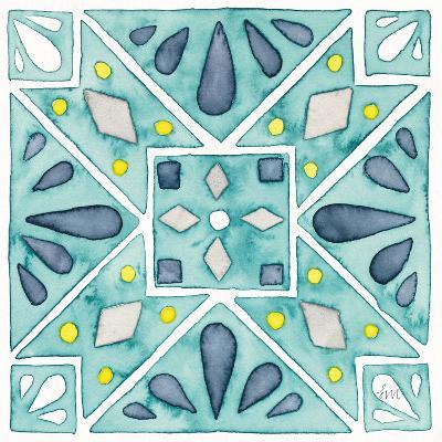 Garden Getaway Tile IX Teal-Laura Marshall-Art Print