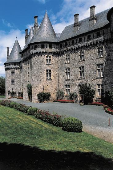 Garden in Front of a Castle, Pompadour Castle, Limousin, France--Photographic Print