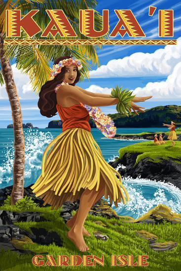 Garden Isle - Kauai, Hawaii - Hula Girl on Coast-Lantern Press-Wall Mural