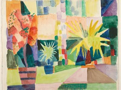 Garden on Lake Thun (Pomegranate Tree and Palm in the Garde), 1914-August Macke-Giclee Print