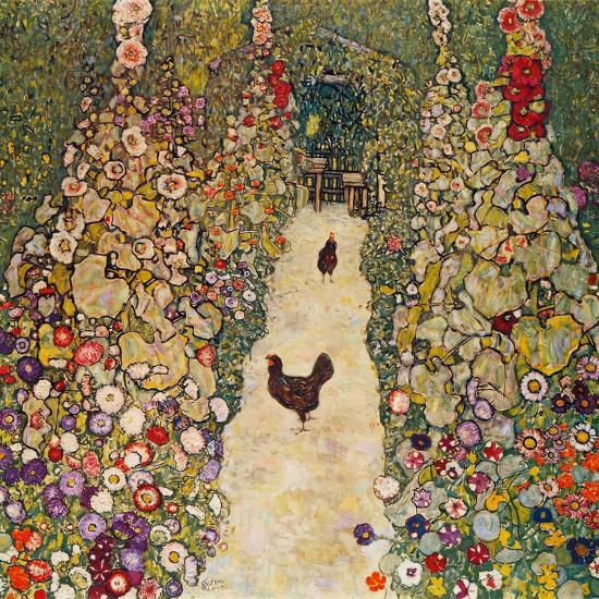 Garden Path with Chickens, 1916, Burned at Schloss Immendorf in 1945-Gustav Klimt-Premium Giclee Print