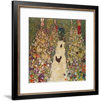 Garden Path with Chickens, 1916, Burned at Schloss Immendorf in 1945-Gustav Klimt-Framed Giclee Print