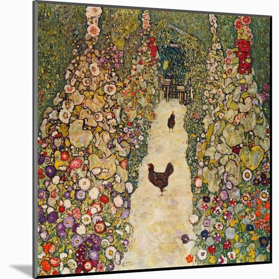 Garden Path with Chickens, 1916, Burned at Schloss Immendorf in 1945-Gustav Klimt-Mounted Giclee Print