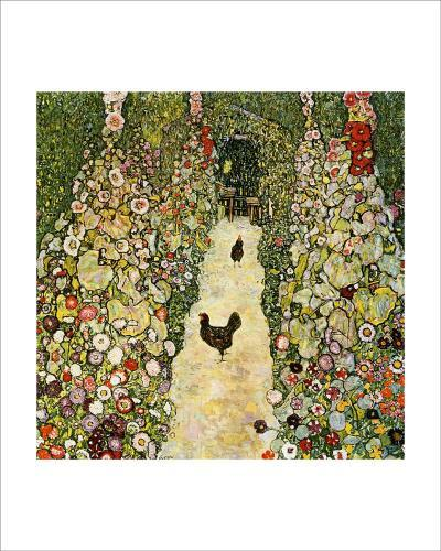 Garden Path with Chickens-Gustav Klimt-Giclee Print