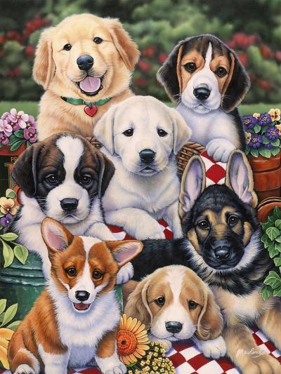 Garden Puppies-Jenny Newland-Giclee Print