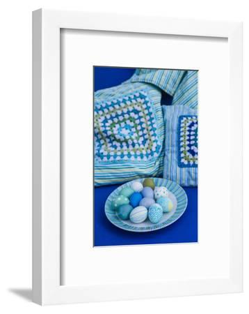 Garden sofa, Easter decoration, detail,-mauritius images-Framed Photographic Print