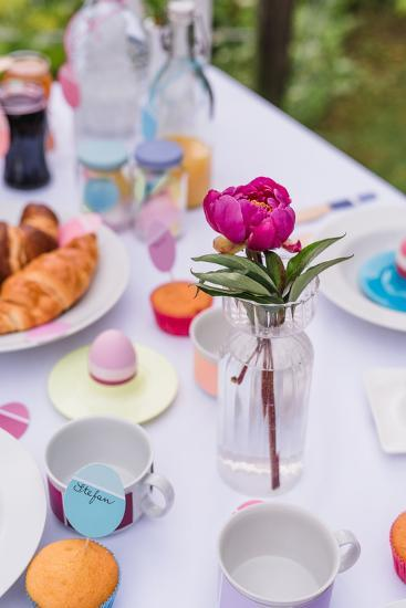 Garden table, covered, Easter breakfast, detail,-mauritius images-Photographic Print