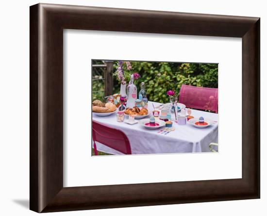 Garden table, covered, Easter breakfast-mauritius images-Framed Photographic Print