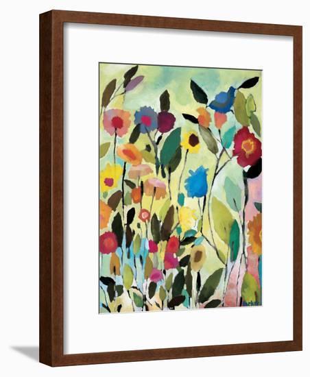 Garden with Blue Tulips-Kim Parker-Framed Giclee Print