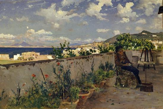 Garden with the Sea in the Background-Antonino Leto-Giclee Print