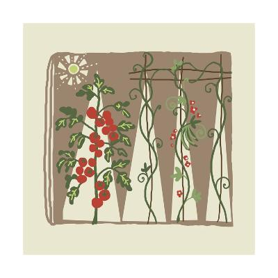Garden with Tomato Plant and Trellis with Flowering Vines--Art Print