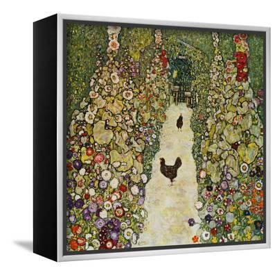 Gardenpath with Hens, 1916-Gustav Klimt-Framed Canvas Print