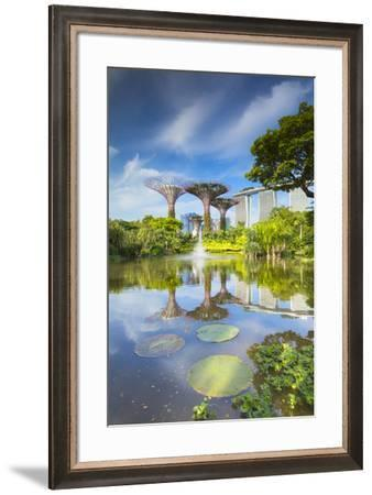 Gardens by the Bay and Marina Bay Sands Hotel, Singapore-Ian Trower-Framed Photographic Print