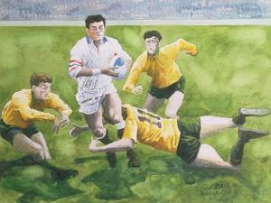 Rugby Match: England v Australia in the World Cup Final, 1991, Will Carling Being Tackled by Gareth Lloyd Ball