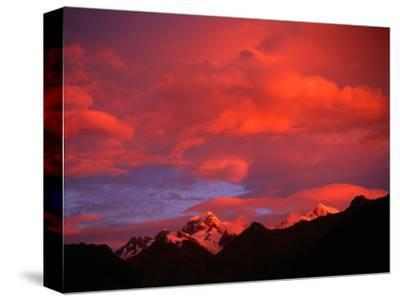 Alpenglow from Reflections off Snow Peaked Mountains, Mt. Tasman, New Zealand