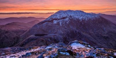 Winter Dawn over Barrslievenaroy, Maumturk Mountains, Connemara, County Galway, Ireland