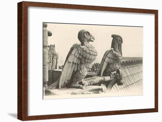 Gargoyles at Notre Dame, Paris--Framed Art Print