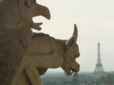 Gargoyles on Notre Dame Cathedral, and Beyond, the Eiffel Tower, Paris, France, Europe-Woolfitt Adam-Photographic Print