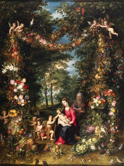 Garland of Flowers with Virgin and Child-Jan Brueghel and Hendrik van Balen-Giclee Print