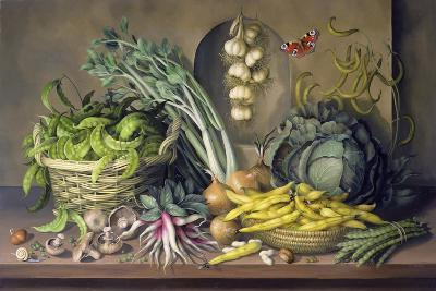 Garlic and Radishes and a Peacock Buttefly, 1997-Amelia Kleiser-Giclee Print