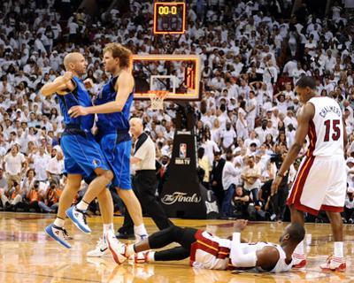 Dallas Mavericks v Miami Heat - Game Two, Miami, FL - JUNE 02: Dirk Nowitzki, Jason Kidd and Dwyane