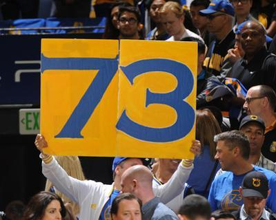 Fan Holds Up 73 Sign - Golden State Warriors vs Memphis Grizzlies, April 13, 2016
