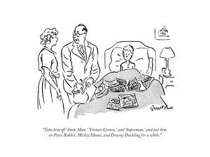 """Take him off 'Atom Man,' 'Torture Comics,' and 'Superman,' and put him on?"" - New Yorker Cartoon by Garrett Price"
