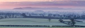 Panoramic of Beeston Castle and Peckforton Hills on a Frosty Winter Morning over Cheshire Plain by Garry Ridsdale