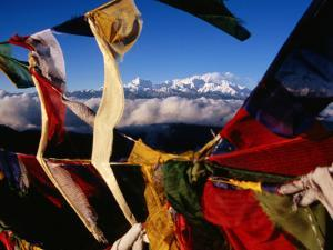 Buddhist Prayer Flags Framing Kangchenjunga Peak (8586M), Singali Ridge by Garry Weare