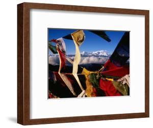 Buddhist Prayer Flags Framing Kangchenjunga Peak (8586M), Singali Ridge by Garry Weare