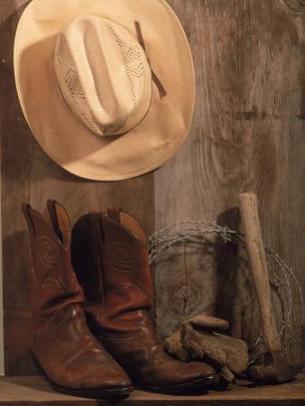 Cowboy Hat and Boots, Barbed Wire and Hammer