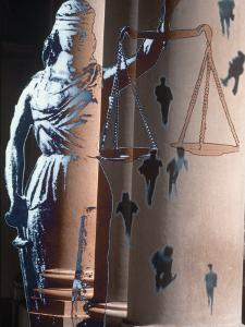 Lady of Justice, Columns and People Walking by Gary Conner