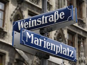 Street Signs for Marienplatz and Weinstrasse, Munich (Munchen), Bavaria (Bayern), Germany by Gary Cook