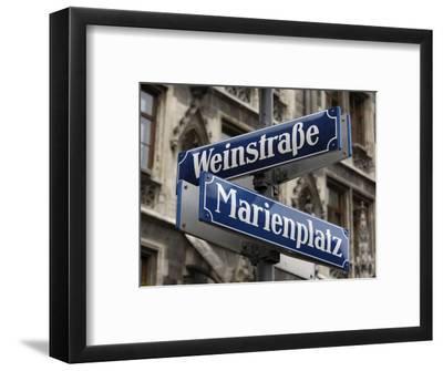 Street Signs for Marienplatz and Weinstrasse, Munich (Munchen), Bavaria (Bayern), Germany
